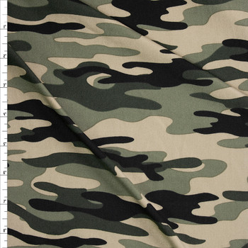 Moss Camo Double Brushed Poly/Spandex Knit Fabric By The Yard