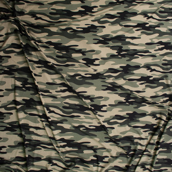 Moss Camo Double Brushed Poly/Spandex Knit Fabric By The Yard - Wide shot