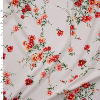 Red, Orange, and Sage Wildflowers on Warm White Double Brushed Poly/Spandex Knit Fabric By The Yard