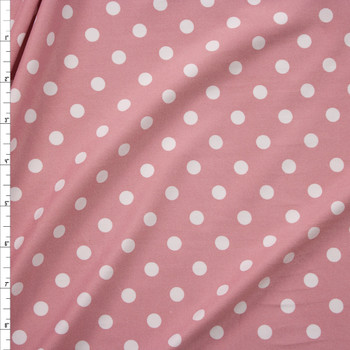White on Dusty Pink Polka Dots Double Brushed Poly/Spandex Knit Fabric By The Yard