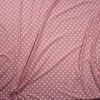 White on Dusty Pink Polka Dots Double Brushed Poly/Spandex Knit Fabric By The Yard - Wide shot