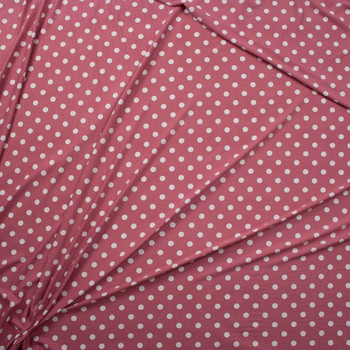 White on Mauve Polka Dots Double Brushed Poly/Spandex Knit Fabric By The Yard - Wide shot