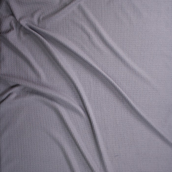 Solid Medium Grey Brushed Soft Waffle Fabric By The Yard - Wide shot