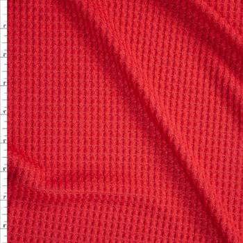 Firebrick Red Soft Waffle Knit Fabric By The Yard