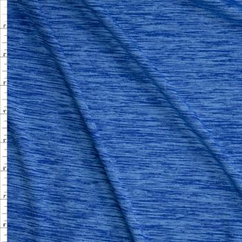 Malibu Blue Space Dye Moisture Wicking Designer Athletic Knit Fabric By The Yard