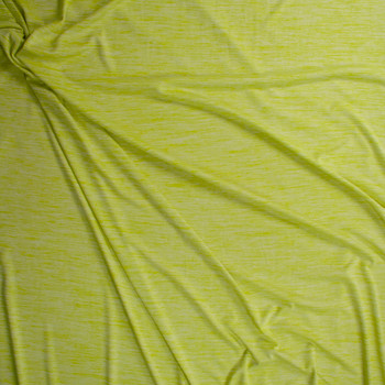 Lemon Lime Space Dye Moisture Wicking Designer Athletic Knit Fabric By The Yard - Wide shot