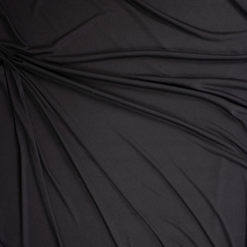 Black Lightweight Moisture Wicking Designer Athletic Knit Fabric By The Yard - Wide shot