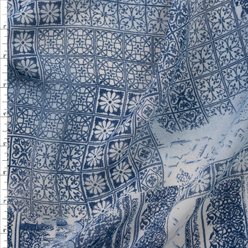 Blue Ornate Patchwork Rayon Georgette Fabric By The Yard