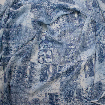 Blue Ornate Patchwork Rayon Georgette Fabric By The Yard - Wide shot