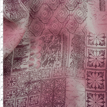 Pink and Wine Ornate Patchwork Rayon Georgette Fabric By The Yard