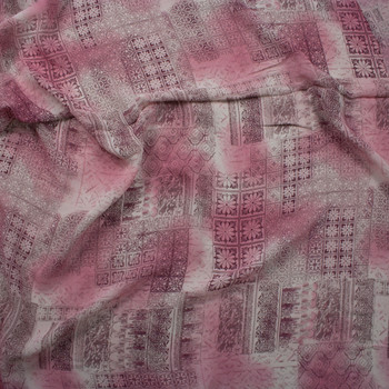 Pink and Wine Ornate Patchwork Rayon Georgette Fabric By The Yard - Wide shot
