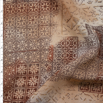 Tan and Brown Ornate Patchwork Rayon Georgette Fabric By The Yard