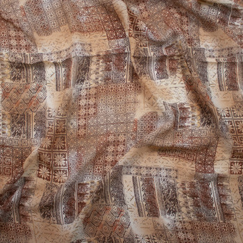 Tan and Brown Ornate Patchwork Rayon Georgette Fabric By The Yard - Wide shot