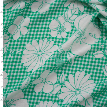 Sketchbook Floral on Seafoam Gingham Rayon Gauze Fabric By The Yard