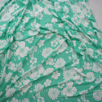 Sketchbook Floral on Seafoam Gingham Rayon Gauze Fabric By The Yard - Wide shot