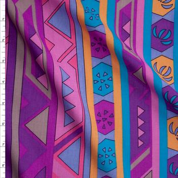 Pink, Purple, Teal, and Orange Geometric Stripe Rayon Challis Fabric By The Yard