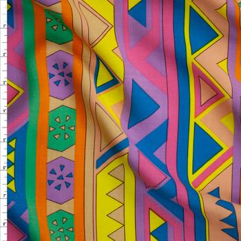 Tan, Yellow, Blue, Pink, Orange, and Green Geometric Stripe Rayon Challis Fabric By The Yard