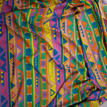 Tan, Yellow, Blue, Pink, Orange, and Green Geometric Stripe Rayon Challis Fabric By The Yard - Wide shot