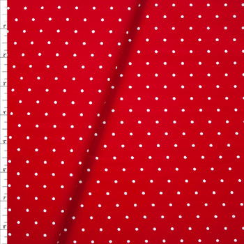 White on Red Polka Dots Stretch Cotton Poplin Fabric By The Yard