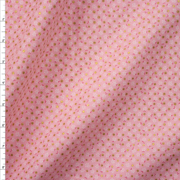 Metallic Gold Polka Dots on Pink and White Mini Floral Quilter's Cotton Fabric By The Yard
