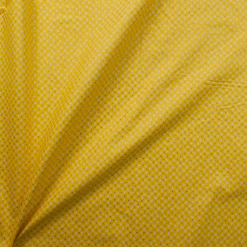 Metallic Gold Polka Dots on Yellow and White Mini Floral Quilter's Cotton Fabric By The Yard - Wide shot