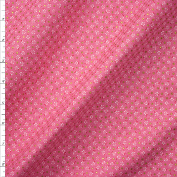 Metallic Gold Polka Dots on Hot Pink and White Mini Floral Quilter's Cotton Fabric By The Yard