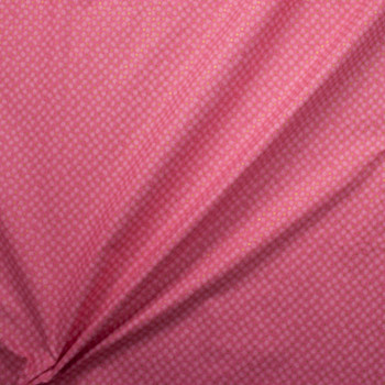 Metallic Gold Polka Dots on Hot Pink and White Mini Floral Quilter's Cotton Fabric By The Yard - Wide shot