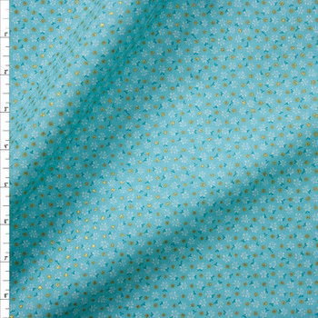 Metallic Gold Polka Dots on Aqua and White Mini Floral Quilter's Cotton Fabric By The Yard