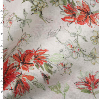 Sage and Red Orange Floral on Offwhite Lightweight Linen Fabric By The Yard