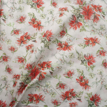 Sage and Red Orange Floral on Offwhite Lightweight Linen Fabric By The Yard - Wide shot