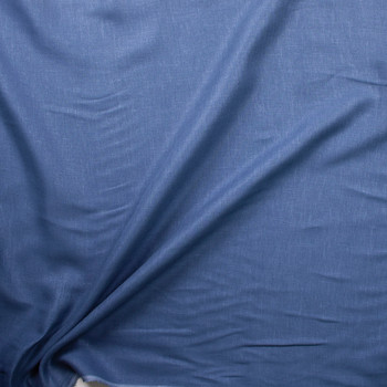 Denim Blue Lightweight Linen Fabric By The Yard - Wide shot