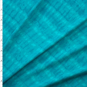 Turquoise Diagonal Ripple Designer Nylon/Spandex Fabric By The Yard