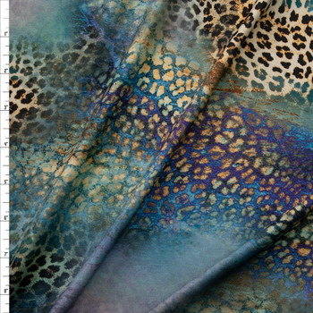 Blue, Lavender, and Leopard Prism Designer Nylon/Spandex Fabric By The Yard