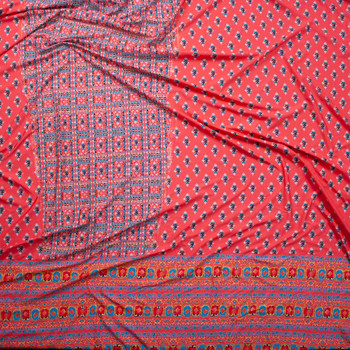 Bright Coral, Seafoam, and Ivory Ornate Border Print Lightweight Designer Spandex Fabric By The Yard - Wide shot