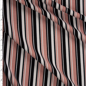 Dusty Pink, Black, and White Vertical Stripe Crepe Knit Fabric By The Yard