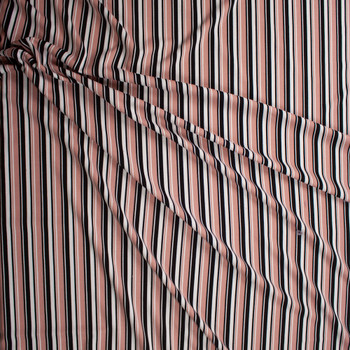 Dusty Pink, Black, and White Vertical Stripe Crepe Knit Fabric By The Yard - Wide shot