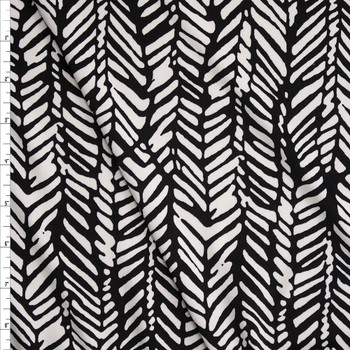 Black and White Paintbrush Zigzag Pattern Poly/Spandex Stretch Knit Fabric By The Yard