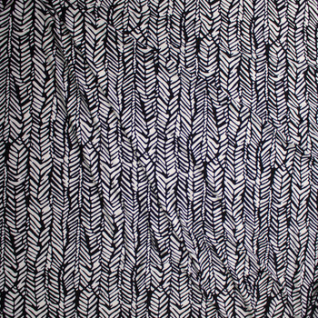 Black and White Paintbrush Zigzag Pattern Poly/Spandex Stretch Knit Fabric By The Yard - Wide shot