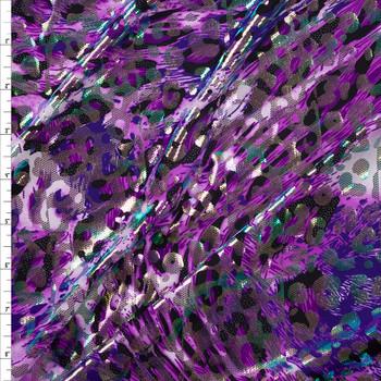 Purple Oil Slick Leopard Metallic Poly Stretch Knit Fabric By The Yard