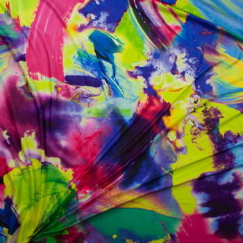 Neon Abstract Brushstrokes Double Brushed Poly/Spandex Fabric By The Yard - Wide shot