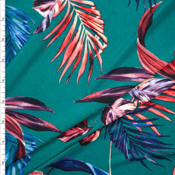 Red and Navy Palms on Emerald Green Designer Poly/Spandex Knit Fabric By The Yard