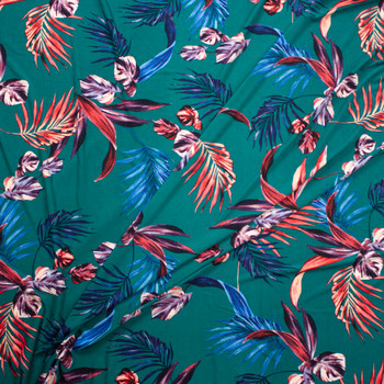 Red and Navy Palms on Emerald Green Designer Poly/Spandex Knit Fabric By The Yard - Wide shot