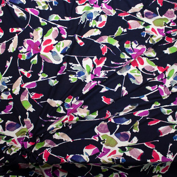 Colorful Abstract Flowers on Navy Designer Poly/Spandex Knit Fabric By The Yard - Wide shot