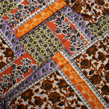 Rust, Lavender, and Ivory Layered Ornate Floral Diamonds Designer Poly/Spandex Knit Fabric By The Yard - Wide shot