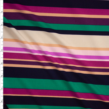 Purple. Ivory, and Green Horizontal Barcode Stripe Designer Poly/Spandex Knit Fabric By The Yard