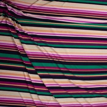 Purple. Ivory, and Green Horizontal Barcode Stripe Designer Poly/Spandex Knit Fabric By The Yard - Wide shot