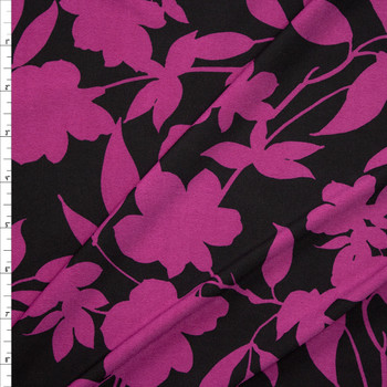 Purple Floral Silhouette on Black Designer Poly/Spandex Knit Fabric By The Yard