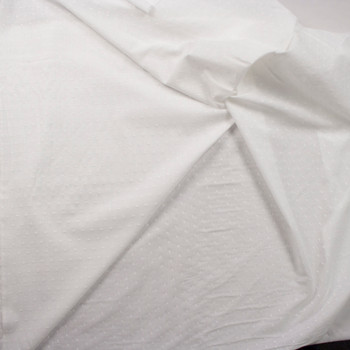 White Swiss Dot Cotton Lawn Fabric By The Yard - Wide shot