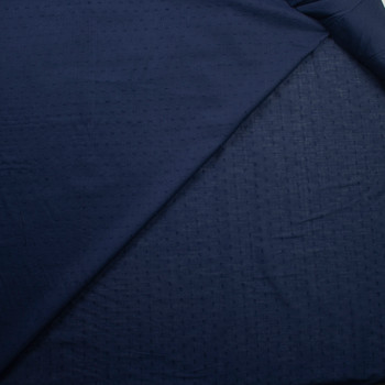 Navy Blue Swiss Dot Cotton Lawn Fabric By The Yard - Wide shot