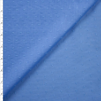 Sky Blue Swiss Dot Cotton Lawn Fabric By The Yard